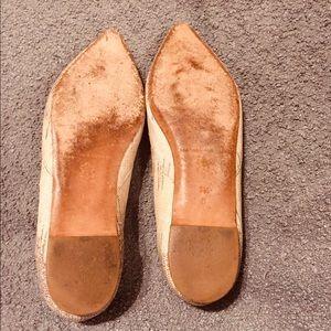 Loeffler Randall Shoes - Loeffler Randall cream and gray leather flats.